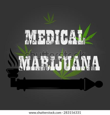 vector medical marijuana sign and icon on chalkboard - stock vector