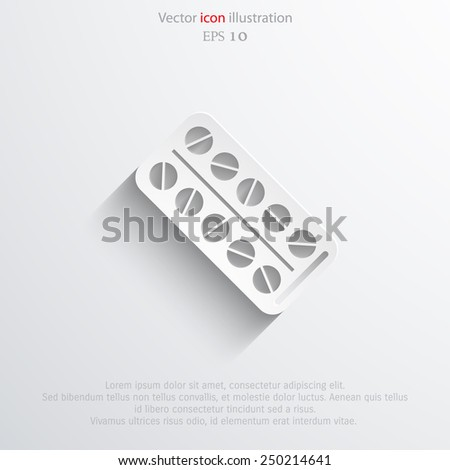 Vector medical package drugs flat icon. Eps 10. - stock vector