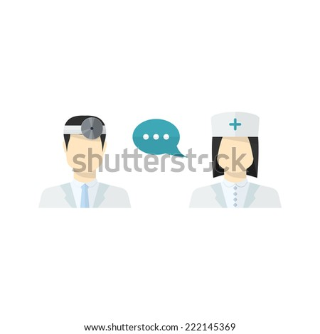 Vector medical people,worker icons set male Doctor and female Nurse avatars in uniform ,in flat style with a color speech bubbles conceptual health care - stock vector