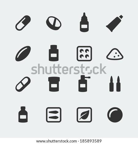 Vector medications mini icons set - stock vector
