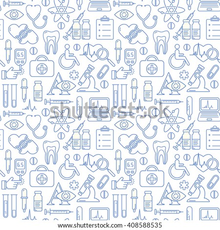 Vector medicine and health design seamless pattern with modern blue linear icons. Medical background contains line style symbols.