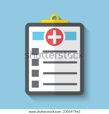 Vector medicine clipboard flat icon. Eps10. - stock vector