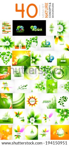 Vector mega collection of nature leaves, eco waves, abstract flowers for - stock vector
