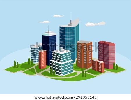 Vector megalopolis flat illustration - stock vector