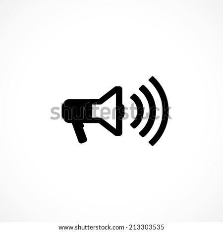 Vector megaphone, flat icon isolated on white background - stock vector