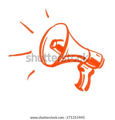 vector megaphone marker sketch - stock vector