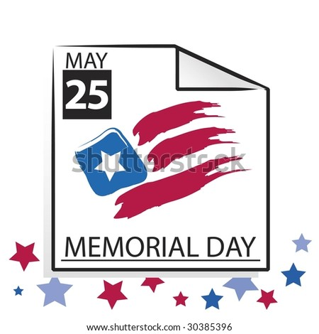 Vector Memorial Day Calendar Page with Abstract US Flag - stock vector