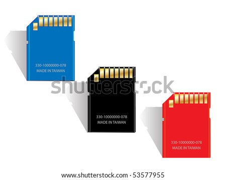 Vector memory SD card.(Made in taiwan) - stock vector