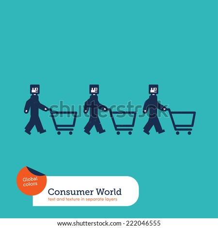 Vector men chain with shopping caddies. Vector illustration Eps10 file. Global colors. Text and Texture in separate layers. - stock vector