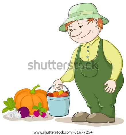 Vector, men gardener with a crop of ripe vegetables - stock vector