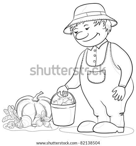 Vector, men gardener with a crop of ripe vegetables, contours - stock vector