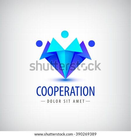 vector men, human logos, icons. Family, team, people logos, leadership business logos, cooperation - stock vector