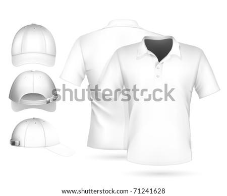 Vector. Men polo shirt design template and baseball cap. - stock vector