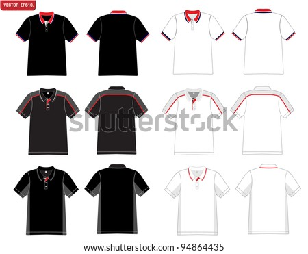 Vector. Men's black and white polo shirt template. - stock vector