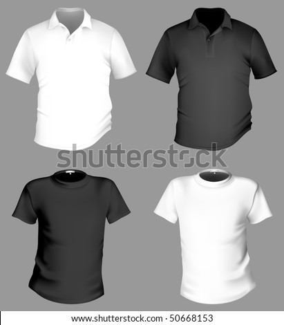 Vector. Men's black and white t-shirt and polo shirt template. - stock vector