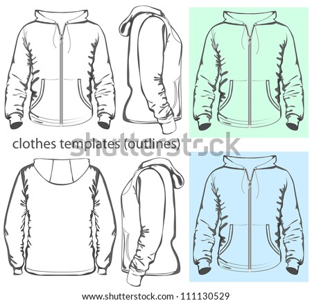 Vector. Men's hooded sweatshirt with zipper and pockets (back, front and side view). Outlines - stock vector
