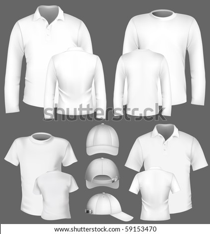 Vector. Men's polo shirt and t-shirt design template and baseball cap. - stock vector