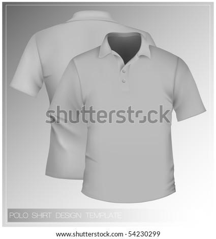 Vector. Men's polo shirt design template. - stock vector