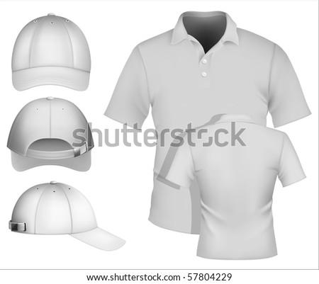 Vector. Men's polo shirt design template and baseball cap. More clothing designs in my portfolio. - stock vector