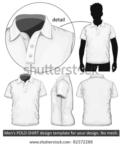 Vector. Men's polo-shirt design template (front, back and side view). No mesh.