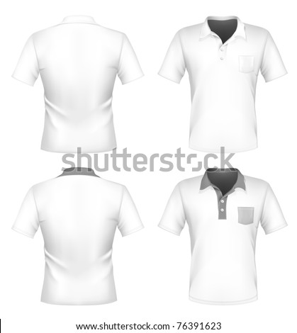 Vector. Men's polo shirt design template with pocket  (front and back). - stock vector
