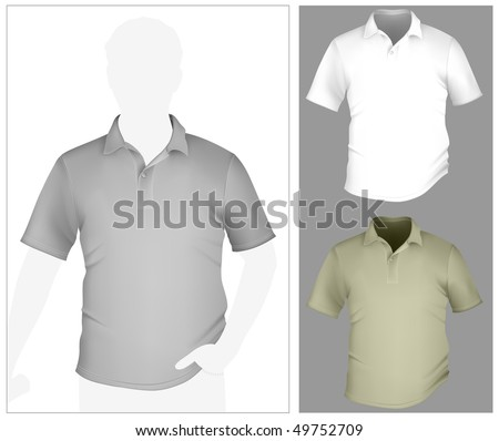 Vector. Men's polo shirt template with human body silhouette. - stock vector