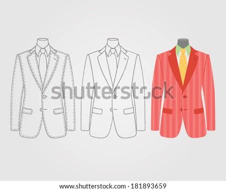 vector men's suit on mannequin - stock vector