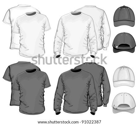 Vector. Men's t-shirt design template & baseball cap. black & white - stock vector