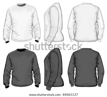 Vector. Men's t-shirt design template (front, back and side view). Long sleeve. No mesh. - stock vector