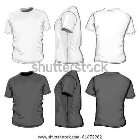 Vector. Men's t-shirt design template (front, back and side view). No mesh. - stock vector