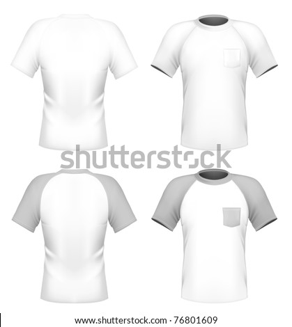 Vector. Men's t-shirt design template with pocket (front and back)