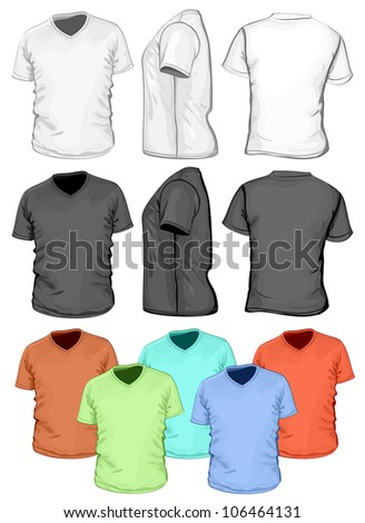 Vector. Men's V-neck t-shirt design template (front, back and side view) - stock vector