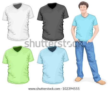 Vector. Men's v-neck t-shirt design template (front view) - stock vector