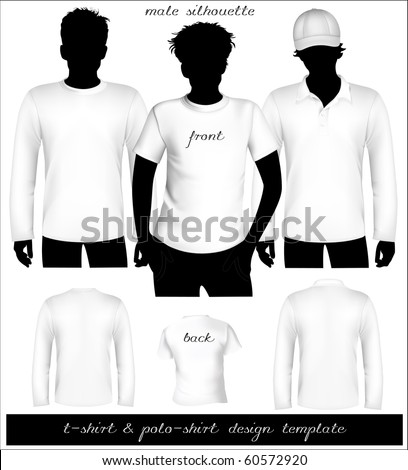 Vector. Men's white t-shirt and polo shirt template with human body silhouette. - stock vector