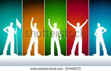 Vector men silhouettes. five different poses. - stock vector