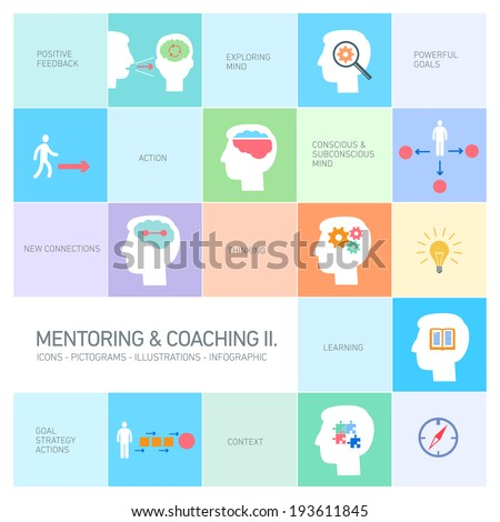 vector mentoring and coaching soft skills icons set modern flat design illustrations infographic isolated on colorful background - stock vector