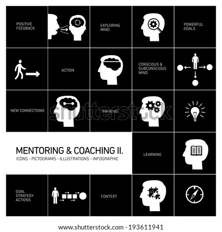 vector mentoring and coaching soft skills icons set modern flat design white illustrations infographic isolated on black background - stock vector