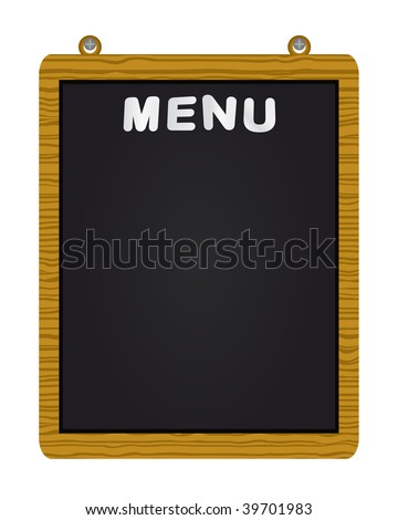 Vector menu on blackboard - stock vector