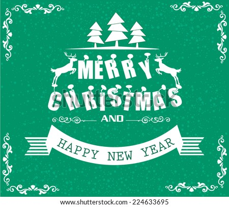 Vector Merry Christmas and Happy New Year card design.