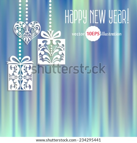 Vector Merry Christmas and Happy New Year card design. Gifts and Hearts on the blue background with space for your text. Perfect as invitation or announcement, greeting card. Vector 10 EPS - stock vector