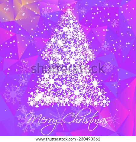 Vector merry Christmas and Happy new year card with Christmas tree, snowflakes and purple polygon background. New year party invitation template. web page Christmas background - stock vector