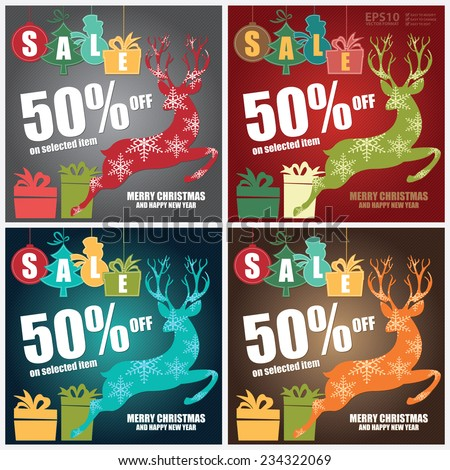 Vector : Merry Christmas and Happy New Year Sale Brochure, Leaflet or Banner With Colorful Sale Tag With 50% Off on Selected Item, Reindeer, Gift Box and Merry Christmas and Happy New Year Text - stock vector