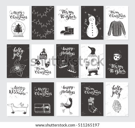 Vector merry christmas black white greeting stock vector 2018 vector merry christmas black and white greeting cards and invitations isolated on background big set m4hsunfo