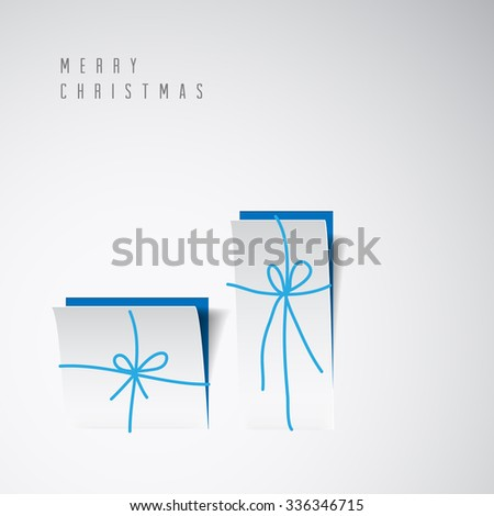 Vector Merry Christmas card with a white minimalistic gift boxes cut out of paper - stock vector