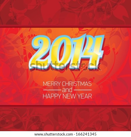 vector merry christmas decorative red floral background. xmas or happy new year card