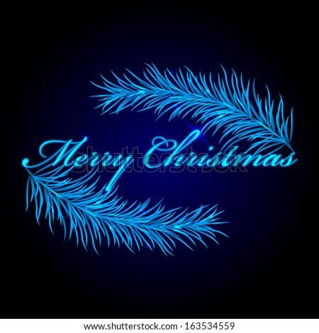 Vector Merry Christmas frame with fir - stock vector