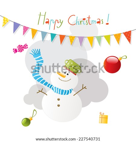 Vector merry christmas greeting card, snowman.  - stock vector