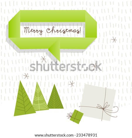 Vector merry christmas greeting card, winter landscape with fir trees, gift boxes. Snowfall.   - stock vector