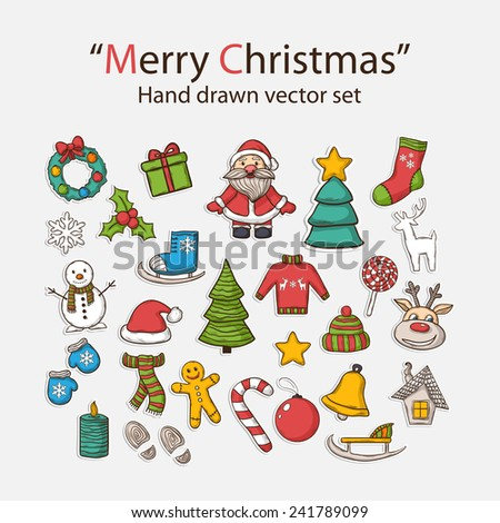 Vector  Merry Christmas hand drawn set,with Santa Claus,snowman,Christmas tree,sleigh,candy,house,ice skates,snowflake,gift,candle,Christmas wreath,Christmas toys,mittens,hat,scarf,deer - stock vector