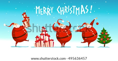 Attractive Vector Merry Christmas, Happy New Year Congratulation Design. Santa Claus  Funny Character Portrait.